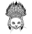 draw in black and white head cat with indian vector image vector image