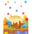 easter festive flat concept with sweets vector image vector image