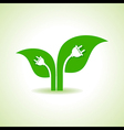 Ecology Concept - Leaf with electric plug vector image vector image
