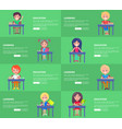 education and learning set of green posters blocks vector image