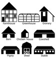 Farm Buildings Icons vector image vector image