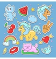 Fashion cute patches stickers set with unicorn vector image