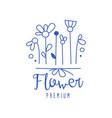 flower premium florists flower shop logo hand vector image vector image