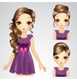 Hairstyle Set Of Girl In Purple Dress vector image