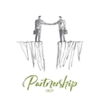 Hand drawn handshake of two businessmen over gap vector image