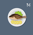 icon fried fish with lemon on a plate top view vector image