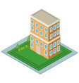 isolmetric school building vector image vector image