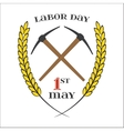 May 1st Labor Day Crossed pickaxes symbol of vector image