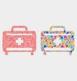 medical baggage mosaic icon triangle vector image vector image