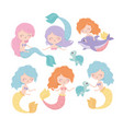 mermaids turtles dolphin cartoon under sea vector image