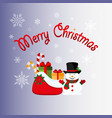 merry christmas snowman with a bag gifts icon vector image