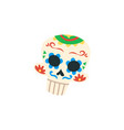 mexican cartoon skull isolated on white background vector image vector image