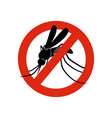 mosquito sign attention symbols insects in red vector image