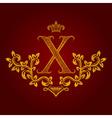 Patterned golden letter X monogram in vintage vector image vector image