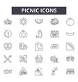 picnic line icons signs set outline vector image vector image