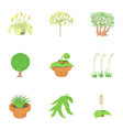 plants icons set cartoon style vector image vector image