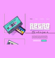 retro mixtape banner with vintage audio cassettes vector image