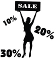 sale sign with girl vector image
