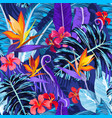 seamless pattern with tropical flowers and plants vector image vector image