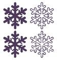set four snowflakes thin line ftat design vector image vector image