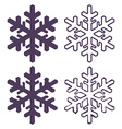 Set of Four Snowflakes thin line ftat design vector image
