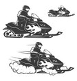 set of snowmobile with driver isolated on white vector image