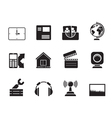 Silhouette Mobile phone and computer icons vector image vector image