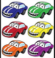 smiling cartoon car with stripes on the hood vector image