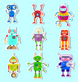stickers wit cute robots vector image vector image