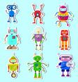 stickers witn cute robots vector image vector image