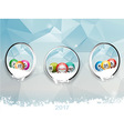 Three borders with Christmas bingo balls over ice vector image vector image
