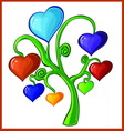 tree with hearts and valentines vector image vector image