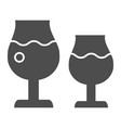 wine glasses solid icon two glasses of wine vector image
