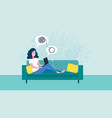 woman sitting on sofa with laptop on online vector image vector image