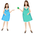 young pregnant woman in blue dress vector image vector image