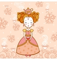 Young woman with a cup of tea and teapot vector image