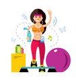 fitness girl flat style colorful cartoon vector image