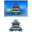 Blue nautical heraldic emblems or logo vector image