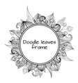 round frame of black and white doodle leaves with vector image