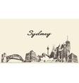 Sydney skyline vintage drawn sketch vector image