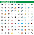100 music icons set cartoon style vector image vector image
