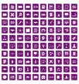 100 plan icons set grunge purple vector image vector image