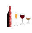 A bottle of wine and glasses vector image vector image