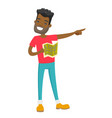 african man with map pointing finger to the side vector image
