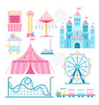 amusement park attractions flat vector image