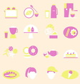 Bakery and drinks color icons vector image