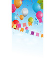 birthday banner with bunting flags and confetti vector image vector image
