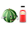 bottle of watermelon juice with cute watermelon vector image vector image