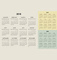 calendar 2018 2019 2020 years vector image vector image