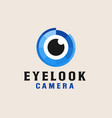 camera eye with blue color logo template vector image